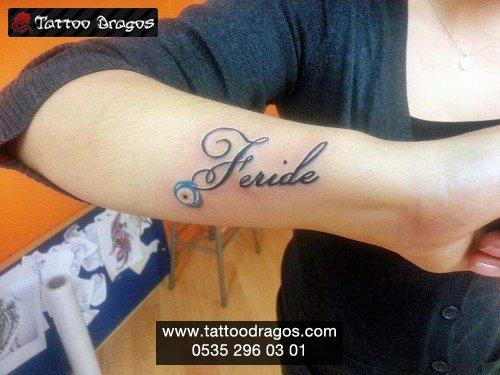 İsim Nazar Boncuğu Dövmesi #TD7921 • Tattoo Dragos