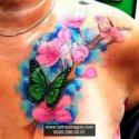 Kiraz Çiçeği Kelebek Dövmesi