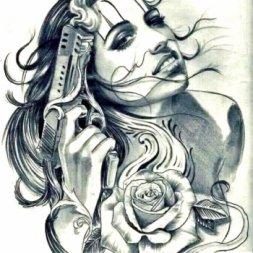 Kadın Silah Dövme Modeli