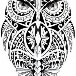 Maori Baykuş Dövme Modeli