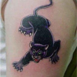 Галерея - Тату - черная пантера на ноге фото