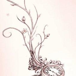 Saat Ağaç Dövme Modeli